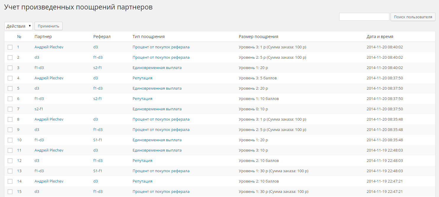 2014-11-20 13-50-59 Поощрения ‹ Плагины WordPress, разработка и продажа. — WordPress - Google Chrome
